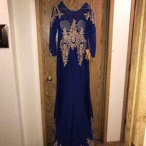 Dresses - Cobalt blue formal with gold brocade Sz 16